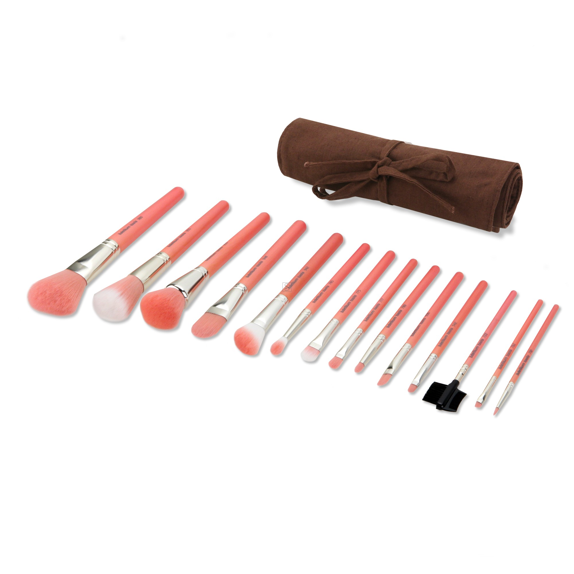 Pink Bambu Complete 14pc. Brush Set with Roll-up Pouch