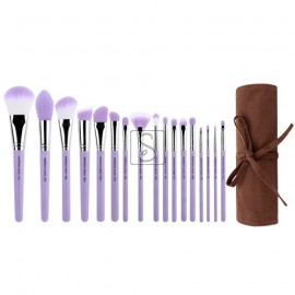 Purple Bambu Precision 17pc. Brush Set with Roll-up Pouch - Bdellium Tools